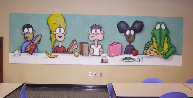 here is a large mural panel we designed and created for the lunch room at garden city elementary school in indianapolis indiana - Garden City Elementary School